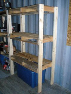 Pallet shelves, would be good for the garage or short ones for the crawl space!  Could be taller with 4x4's as well...