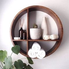 Find Out More On Beautiful Bathroom Cabinets DIY bathroom Shape Wall Shelf Diy Wand, Wood Wall Shelf, Circle Wall Shelf, Wall Shelving, Storage Shelving, Shelving Ideas, Wood Shelves, Glass Shelves, Floating Shelves