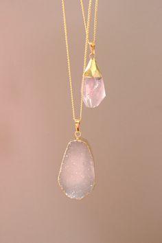Rose Quartz Pendant Necklace by TheVelvetCove on Etsy