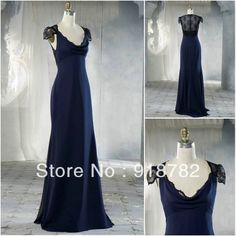 Reall Sample Spacial Occasion  2013 Party Gown Modest Navy Blue Chiffon Lace  Bridesmaid Dress $119.00