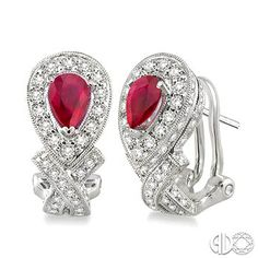 6x4MM Pear Shape Ruby and 1 Ctw Round Cut Diamond Earrings in 14K White Gold www.christensenjewelers.com