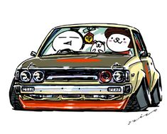 "car illustration ""crazy car art"" jdm japanese old school ""KE70"" original characters ""mame mame rock"" / © ozizo ""ROCK'N ROLL"" Line theme ""Crazy Car Art"" Line themes ""Crazy Car Art"" Line stickers ""Crazy car Art"" Telegram stickers"