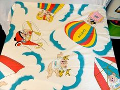 Rare VTG 90's ZEDDY Zellers Teddy Bear HBC Twin Flat sheet & Pillowcase fabric