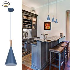 GuangYin Modern Metal Pendant Light Funnel Metal Shade Chandelier with Rubberwood Base and Inverted Triangle Shape for Bedroom, Living Room, Dining Room and Kitchen Inverted Triangle, Triangle Shape, Blue Kitchen Accessories, Utensil Storage, Chandelier Shades, Home Kitchens, Light Fixtures, Dining Room, Modern