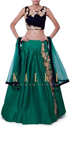 Buy Online from the link below. We ship worldwide (Free Shipping over US$100) Price-$439 Click Anywhere to Tag http://www.kalkifashion.com/moss-green-lehenga-adorn-in-zari-and-mirror-embroidery-only-on-kalki.html