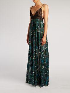 Panama-print cotton and lace gown | Valentino | MATCHESFASHION.COM