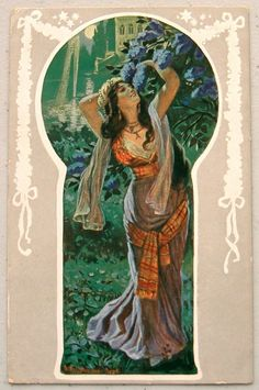 A/S Brilliant Art Nouveau Exotic WOMAN Thru KEYHOLE Postcard   eBay