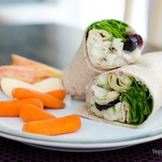 A white bean spread with lemon, garlic and dill adds delicious creaminess to this vegan Greek sandwich wrap recipe. Low fat and easily made gluten free. Greek Sandwich, Veggie Sandwich, Sandwich Ideas, Wrap Recipes, Veggie Recipes, Whole Food Recipes, Tortillas, Crepes, Delicious Vegan Recipes
