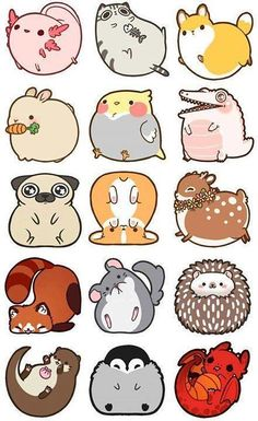 Cute animal drawings kawaii, simple animal drawings, cute cartoon a Easy Animal Drawings, Cute Animal Drawings Kawaii, Cute Cartoon Animals, Anime Animals, Easy Drawings, Drawing Animals, Cute Kawaii Animals, Adorable Drawings, Cute Cartoon Drawings