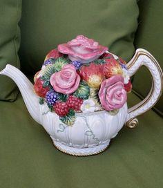 RARE ~ VINTAGE ~ OCI Fitz & Floyd ~ Flower Bouquet Tea Pot
