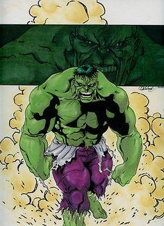 Incredible Hulk Original Cabaleiro Art Color Pencil Marker Marvel Now Avengers | eBay