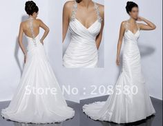 Sexy v neck halter backless beaded taffeta bridal dresses wedding gowns W060-in Wedding Dresses from Apparel & Accessories on Aliexpress.com
