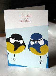 Grußkarte mit Umschlag Meisen Blaumeise Kohlmeise DIN A von stuudio