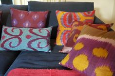 Colourful pillows in the 2012 Showhome's study via Sense and Simplicity. | Order your tickets here for a chance to win this home: http://www.helpconquercancer.ca/welcomehome/tickets.php  #PrincessMargSweeps