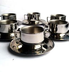 Set of six stainless steel espresso cups and saucers - Italian coffee cup set - Modern serving accessory - Inox cups - Italian housewares by TillasVintageCorner on Etsy https://www.etsy.com/listing/218914396/set-of-six-stainless-steel-espresso-cups