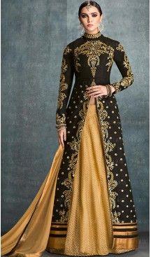 Black Color Silk Achkan Style Long Anarkali Salwar Kameez | FH468472845