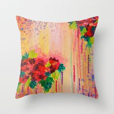 STRAWBERRY CONFETTI PAINTING Abstract Acrylic Floral Beautiful Feminine Flower Bouquet Girlie Pink Throw Pillow by EbiEmporium - $20.00