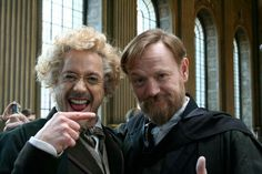 """♡♡♡Robert Downey Jr. and Jared Harris mug it up on the set of """"Sherlock Holmes: A Game of Shadows"""""""