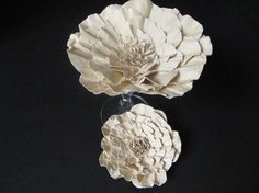Weddings Ivory Paper Flowers Ready to Ship by mcfunk90 on Etsy, $11.00