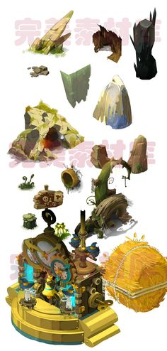 Game art scene material resources to Q version of the cartoon series full of elements [DOFUS] - Taobao Game 2d, Maze Game, Prop Design, Game Design, Hand Painted Textures, Isometric Art, Game Props, Environment Concept Art, True Art