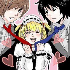 Death Note Fanart, Death Note L, Amane Misa, Monster L, Nate River, Mangekyou Sharingan, Anime Angel Girl, Light Yagami, L Lawliet