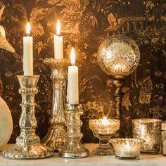 Elegant Mercury Antiqued Glass Candle Holders✨🌹