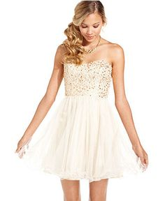 Speechless Juniors Dress, Strapless Sequin Corset - Juniors Dresses - Macy's