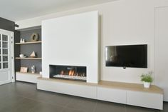 Rural fireplace wall with gas fire Kal-Fire by Haarden MVB . Fireplace Tv Wall, Modern Fireplace, Fireplace Design, Living Room Tv, Living Room With Fireplace, Home And Living, Muebles Living, Living Room Designs, Family Room
