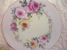 Cottage Romantic Shabby Vintage Chic Porcelain Plate with Pink Roses | Flickr…