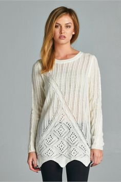 This is a favorite at Sapphire Poppy! This beautiful, delicately knit sweater has a rounded neckline, soft, long sleeves and scallop detailing at the bottom. Dress it up with a classic pencil skirt and heels, or wear it any day with our thick fleece-lined leggings or your favorite pair of skinnies! You can't go wrong