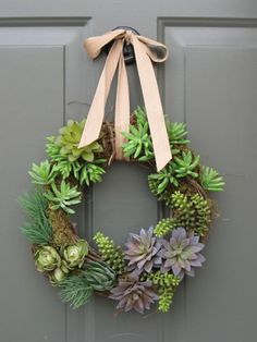 "12"" door wreath artificial succulent wreath grapevine moss rustic green plants succulents door ribbon cabin summer spring. $87.50, via Etsy."