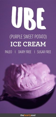 Ube (pronounced oo-bae) is a common tuber in Asian countries and widely used to color cakes and ice cream. Not to be confused with purple potatoes, the ube is actually less starchy than a sweet potato and rich in antioxidants, potassium, and vitamin C. Sweet Potato Ice Cream Recipe, Ube Ice Cream, Paleo Ice Cream, Coconut Ice Cream, Sweet Potato Recipes, Ice Cream Recipes, Purple Yam Ice Cream Recipe, Coconut Milk, Popsicle Recipes
