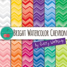 "Watercolor Digital Paper ""WATERCOLOR CHEVRON"" watercolor / watercolour colorful rainbow digital paper for invites scrapbook {Commercial Use}"