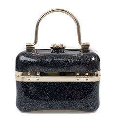 Add a touch of #rockabilly flair to any ensemble with this black glitter jelly tote. #uniquevintage