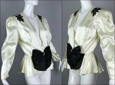 ViNtAgE 80s does 30s Satin Bow Jacket Sequin by MothFoodVintage