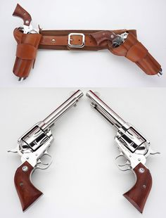 "Pistols (Ruger Vaquero .44 Mag. And holster rig featuring a hip-strong arm-right side hip holster and a ""mexican"" cross draw position holster."