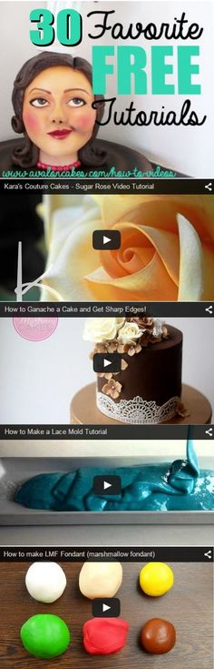 30 of the Best Free Cake Video Tutorials on the web in one convenient place! Life saver! So many great how to cake videos! http://bit.ly/How-toVideos