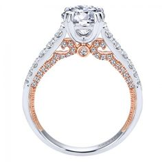 18kt White and Rose Gold Prong Set Engagement Ring only at Wedding Day Diamonds