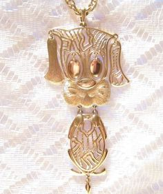 Vintage Gold Tone Large Dog Pendant with by ViksVintageJewelry, $24.99