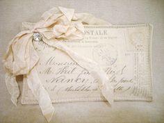 Gorgeous Lavender Sachet with Vintage French Postcard Print