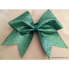 Jade Green Glitter Large Cheer Hair Bow Cheerleading ($14) ❤ liked on Polyvore