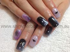 Gel nails, purple, black, white nails, hand painted nail art, galaxy nails, hipster nails, Shimmer Body Studio.