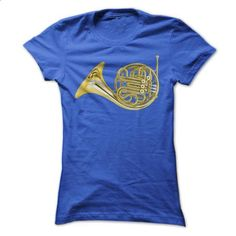 Gold French Horn - #pullover hoodies #sweatshirt design. PURCHASE NOW => https://www.sunfrog.com/Music/Gold-French-Horn-Ladies.html?60505