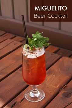 Miguelito: Campari Bitters, Sweet White Vermouth, Mexican Beer, Cilantro, Lime.