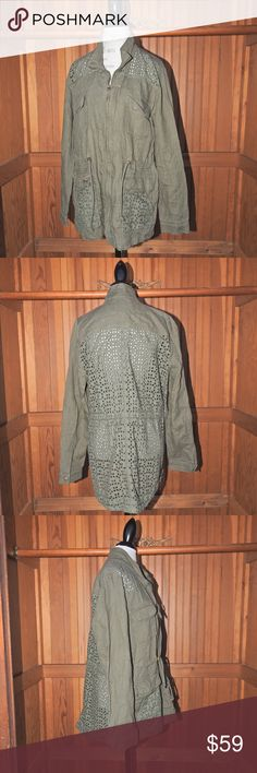 """Lucky Olive with Eyelet Jacket Size XL Lucky Olive with Eyelet Jacket Size XL  Length 30 1/4"""", Armpit to Armpit 24""""   100% Cotton Lucky Brand Jackets & Coats"""