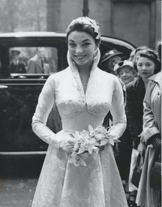 Joan Collins at her first wedding to Maxwell Reed , Vintage celebrity wedding dresses Celebrity Wedding Photos, Celebrity Wedding Dresses, Vintage Wedding Photos, Vintage Bridal, Best Wedding Dresses, Celebrity Weddings, Wedding Styles, Vintage Weddings, Country Weddings