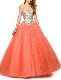 LovingDress Women's Prom Dresses Tulle Sweetheart Beaded Bodice Evening Dress Size 4 US Orange Red
