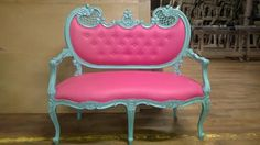 Mint Green French settee with hand painted silver highlights and hot pink faux leather by Dutch Connection www.dutchconnection.co.uk matching armchairs also available