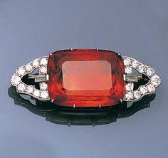 An art deco citrine and diamond brooch, circa 1930