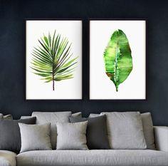 Banana leaf watercolor painting Tropical art Fan palm leaf by colorZen   Etsy